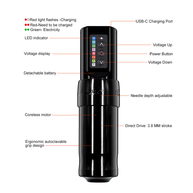 Professional Wireless Tattoo Machine Pen,Fast Charge 2