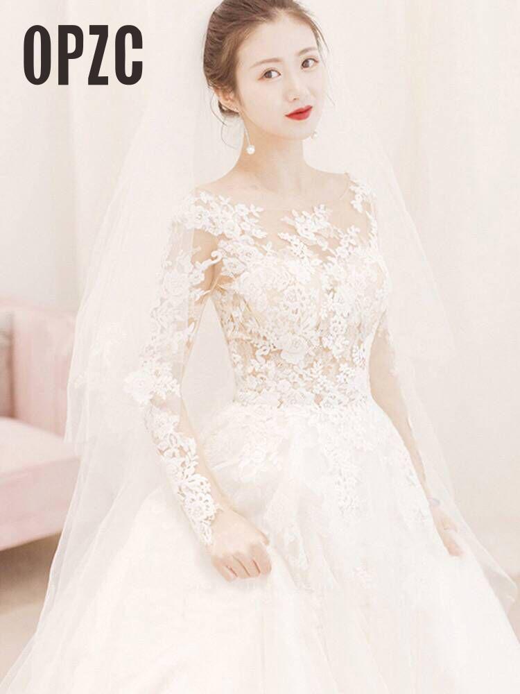 New Fashion Simple Muslin 2020 Wedding Dress Lace Long Sleeve Sweet Elegant Plus Size Vestido De Noiva Bride Floor 100cm Train 7