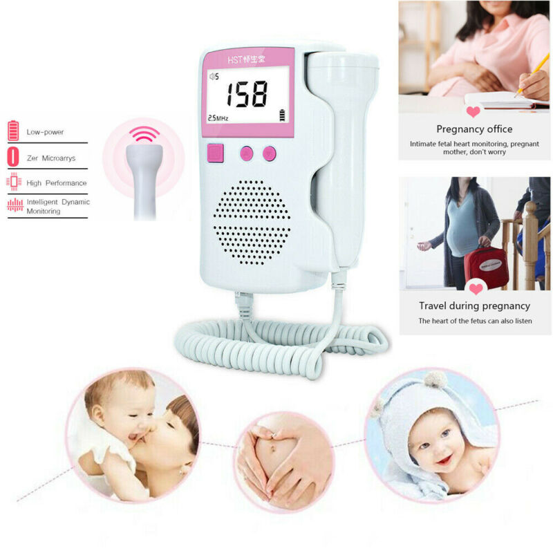 Prenatal Fetal Doppler Ultrasound Baby Heartbeat Monitor Pocket Pregnant Fetal Pulse Detector Heart Rate Meter