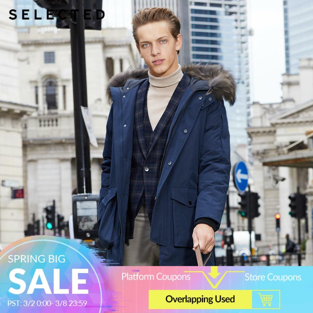 SELECTED Men's Winter Raccoon Fur Collar Parka Down Jacket Warm Long Clothes Big Pockets Medium Style Coat S 418412535