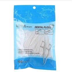 100 Pcs/Lot Disposable Dental Flosser Interdental Brush Teeth Stick Toothpicks Floss Pick Oral Gum Teeth Cleaning Care
