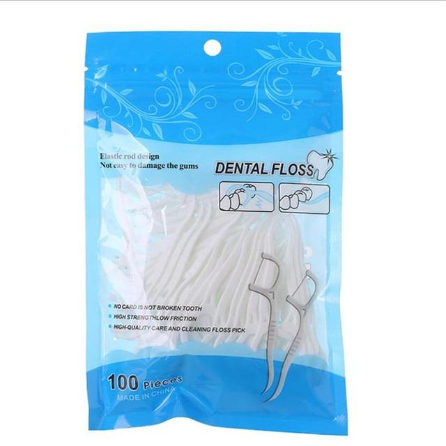 100 Pcs/Lot Disposable Dental Flosser Interdental Brush Teeth Stick Toothpicks Floss Pick Oral Gum Teeth Cleaning Care|Dental Flosser|   -