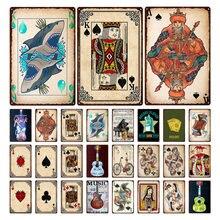 Металлический жестяной ретро знак игральные карты винтажный