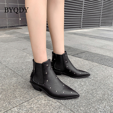 BYQDY Fashion Black Woman Boots Fetish Chelsea Low Heels Pointed Toe Ankle Lady Rivets Stripper Hoof Footwear