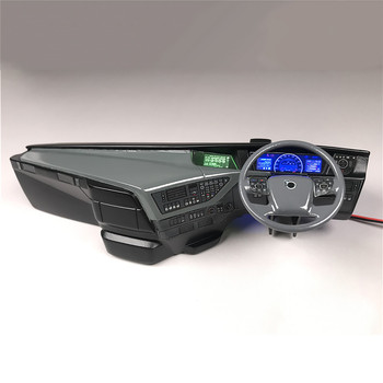 For Tamiya 1/14 Volvo FH16 750 56360 RC Truck Cab Console Cabin with Decoration Sticker Left Right Plastic Internal Center