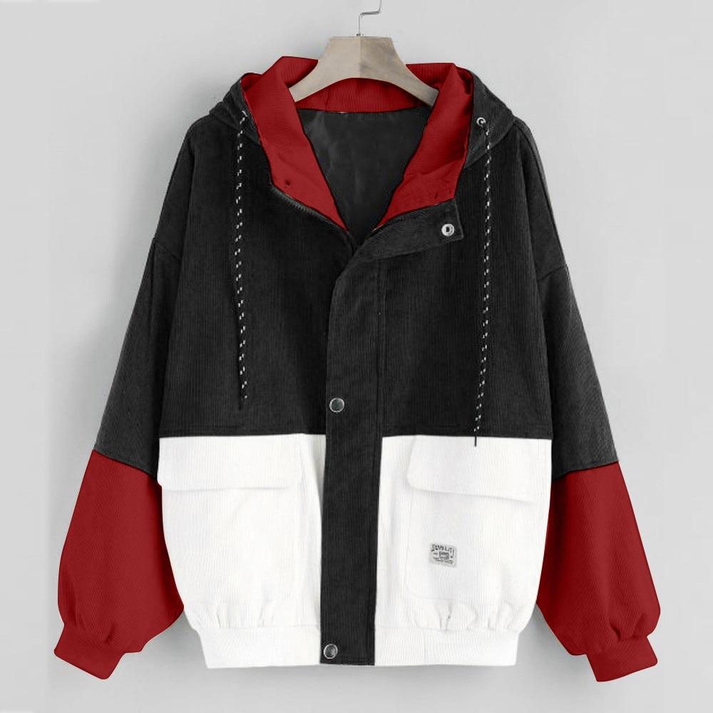 Women color block Long Sleeve Corduroy Women jackets Patchwork Autumn women Jackets plus size women button Innrech Market.com