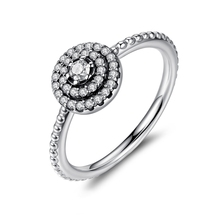 цена 100% Real 925 Sterling Silver Radiant Elegance Rings With Sparkling Clear CZ Compatible With Original Pan Ring Jewelry онлайн в 2017 году