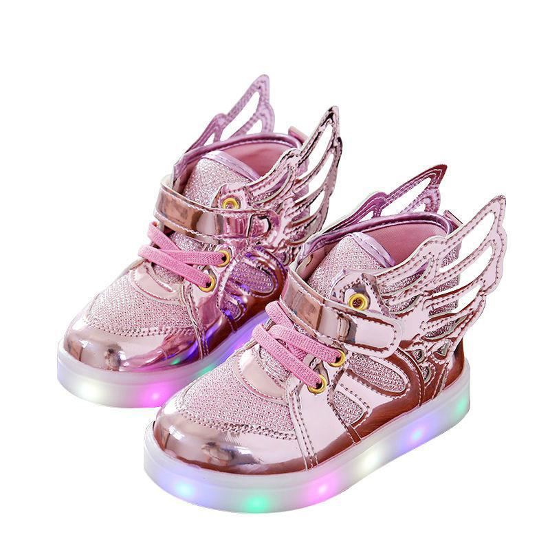 Luminous Sneakers Children Shoes For Boys Girls Led Shoes Kids Sport Flashing Lights Glowing Glitter Casual Baby Wing Flat Boots