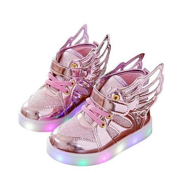 2018 spring new children leisure led girls luminescent sports baby luminous shoes boys glowing kids sneakers lights Luminous Sneakers Children Shoes for Boys Girls Led Shoes Kids Sport Flashing Lights Glowing Glitter Casual Baby Wing Flat Boots