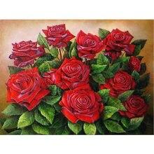 Красная роза Алмазная вышивка цветок 5d Стразы алмазные картины