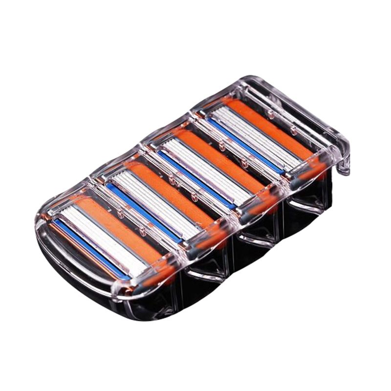 4 Piece/bag Men's Razor Blade, 5 Layers, 4 Stainless Steel Razor Blades, Safety Blade Box Razor For Fusione Proglide