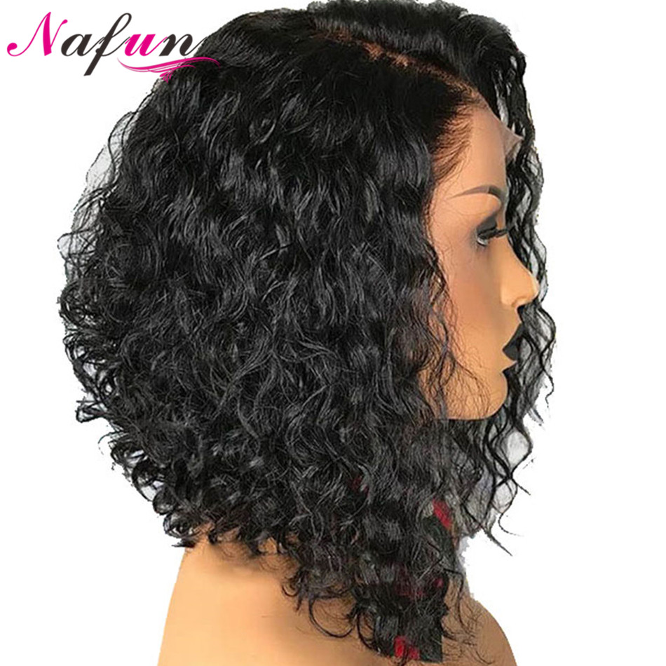 NAFUN 13x4 Lace Front Human Hair Short Bob Wigs Brazilian Remy Kinky Curly Hair Lace Front Closure Wig For Black Women