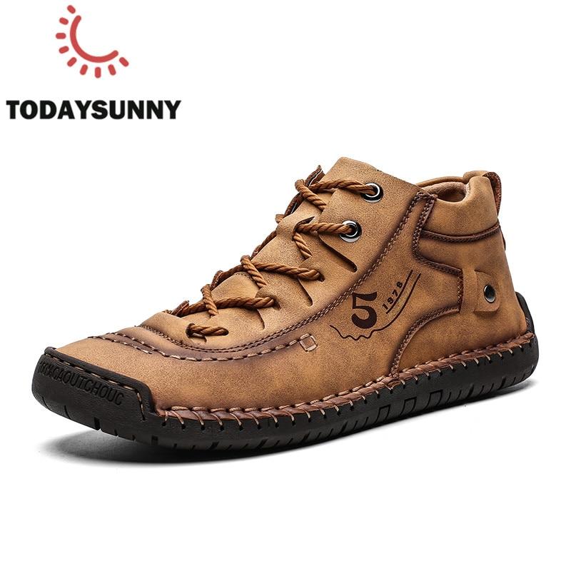 Men Boots Soft Split Leather Shoes Men Ankle Snow Boots Autumn Winter Sneakers Warm Fur Men Boots Big Size 38-48 Bota Masculina