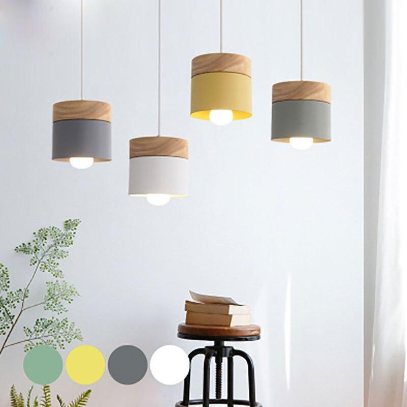 Nordic simplicity LED E27 Pendant light Modern macaron Hanging Lights Home improvement Iron and wood decoration