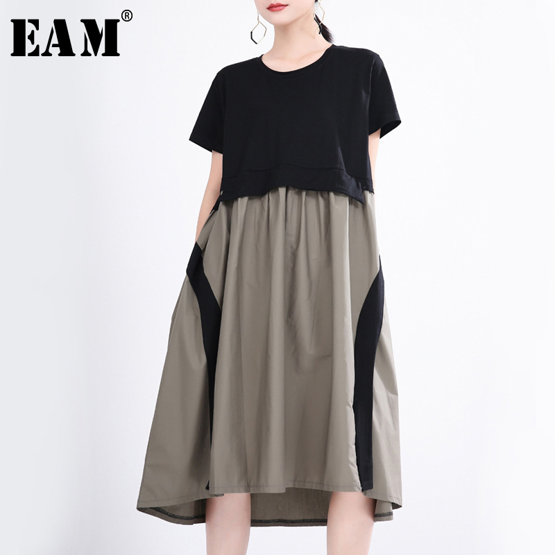 [EAM] Women Contrast Color Split Temperament Dress New Round Neck Short Sleeve Loose Fit Fashion Tide Spring Summer 2020 1T357