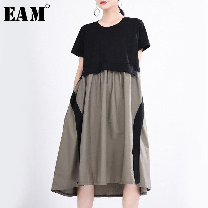 [EAM] Women Contrast Color Split Temperament Dress New Round Neck Short Sleeve Loose Fit Fashion Tide Spring Summer 2020 1T357