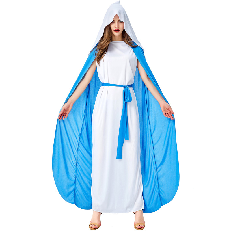 Female Virgin Mary Costume Play Missionary Costume Adult Halloween Carnival Cosplay Costume Fancy Dress Party COS