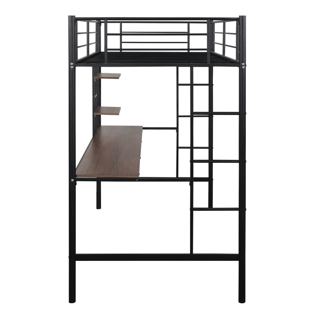 Metal Loft bed with Desk and Shelves 5