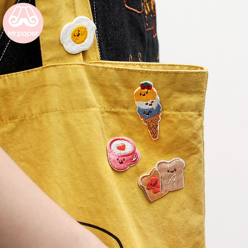 Mr.Paper 4 Designs Cute Ice Cream Toasted Beard Egg Cup Embroidery Stickers Stitch Patches DIY Clothes Bag Deco Fabric Stickers