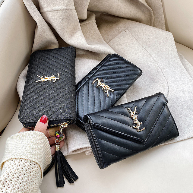 2021 Fashion Zipper Women's Long Wallet Lingge Card Bag Mobile Phone Pocket Change