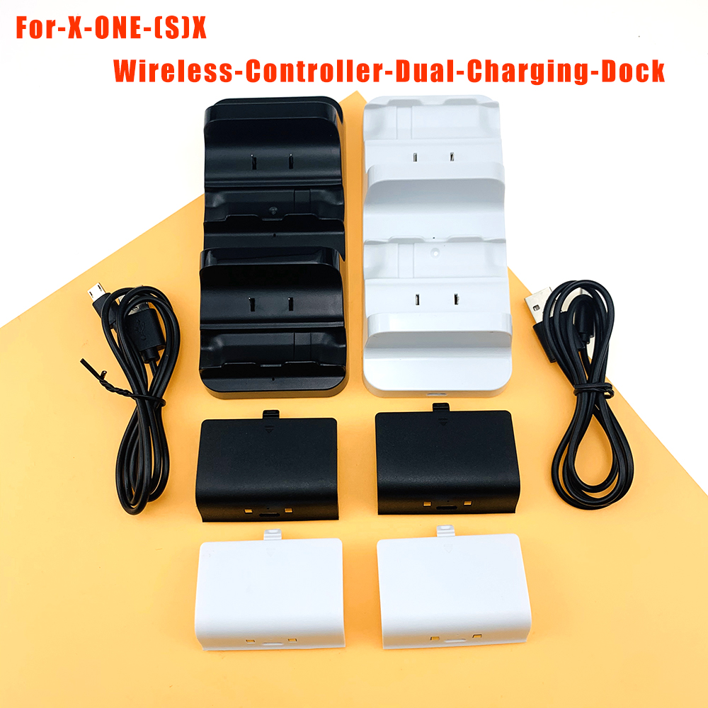 For XBOX ONE S X Game Console Controller Gamepad Dual Charging Dock Station Charger+ Rechargeable Battery Drop Shipping