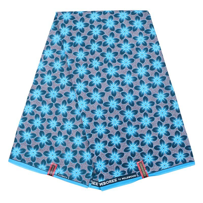 2019 New Arrival Wax African Polyester Real Dutch Wax  Blue Small Flower Print Veritable Wax Cloth