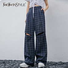 TWOTWINSTYLE Casual Plaid Women Full Length Pants High Waist