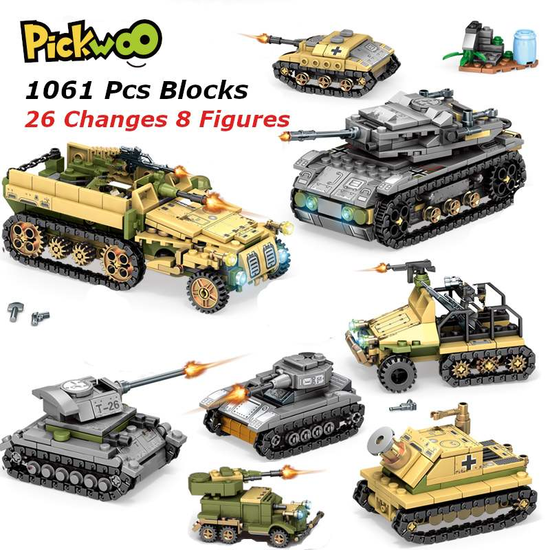 Pickwoo D20 1061PCS Tank Building Blocks Mini figures Vehicle Aircraft Educational Military Block Small Size Bricks Toys for Kid
