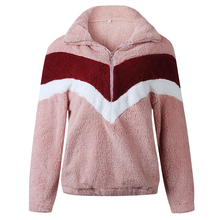 Autumn Zipper Women Hoody Sweatshirt Winter Long Sleeve Pullovers Turn-Down Collar For Casual Patchwork Coat