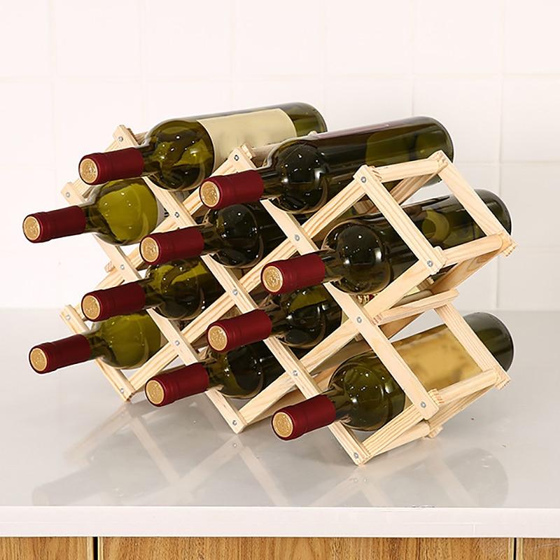Elegant Foldable Countertop Wine Rack 6-10 Bottles Furniture Wine Display Stand