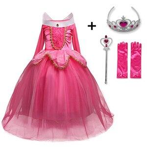 Fancy Sleeping Beauty Princess Aurora Dress up Party Costume Long Sleeve 4 Layers Cosplay Long Dress Halloween Birthday Gift(China)