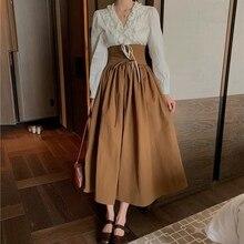 """Новая модная женская одежда юбка в стиле """"Ретро"""" Женский комплект 2 шт. рубашка с длинными рукавами женская"""