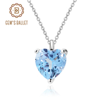 GEM'S BALLET 925 Sterling Silver Heart shaped Jewelry 1.54 CT Natural Sky Blue Topaz Pendant Necklace Women Gifts