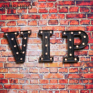 Image 2 - ZMISHIBO A Z & LED Letter Industrial Style Night Lights Holiday Bar Cafe Shop Decor Home Lighting 3D Alphabet Wall Night Lamp