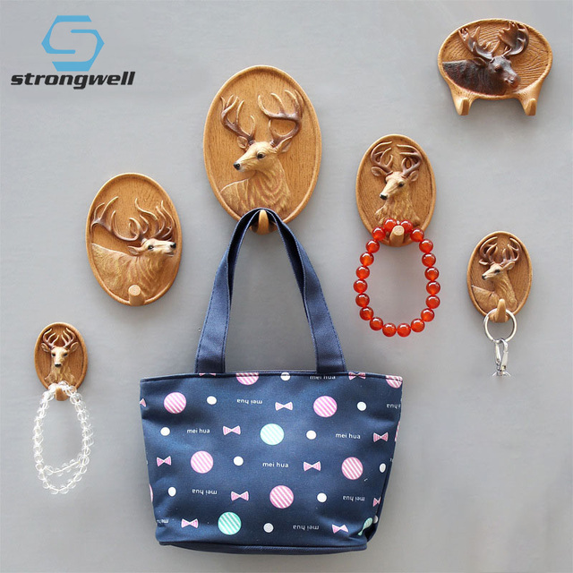 Stongwell American Retro Deer Hook 3D Animal Wall Hanging Key Coat Hooks Cafe Bar Shop Wall Decoration Hanger Home Decoration
