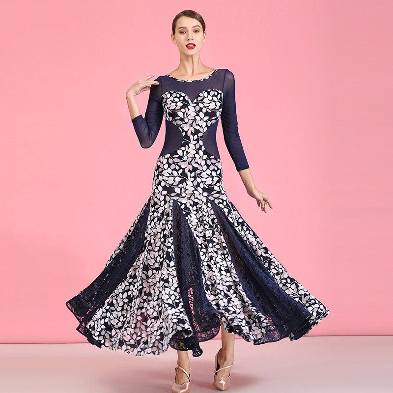 Ballroom Dance Competition Dresses Blue Crystal Linen Modern Dance Skirt National Standard Dress Waltz Practice Dress DQS3719