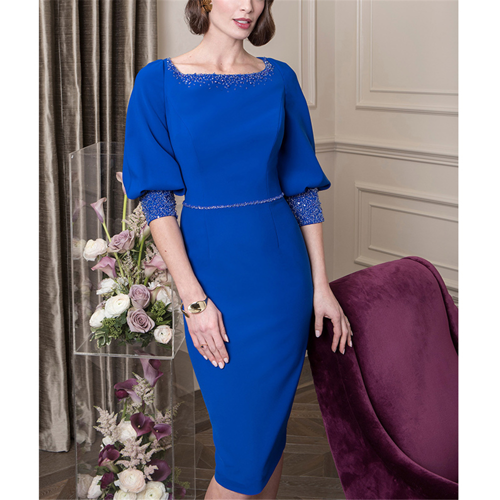 Vestido De Festa Mother Bride Dress Blue Sheath  Knee-Length Half Sleeves Beading Women Short Custom-MadeEvening Party Celebrity