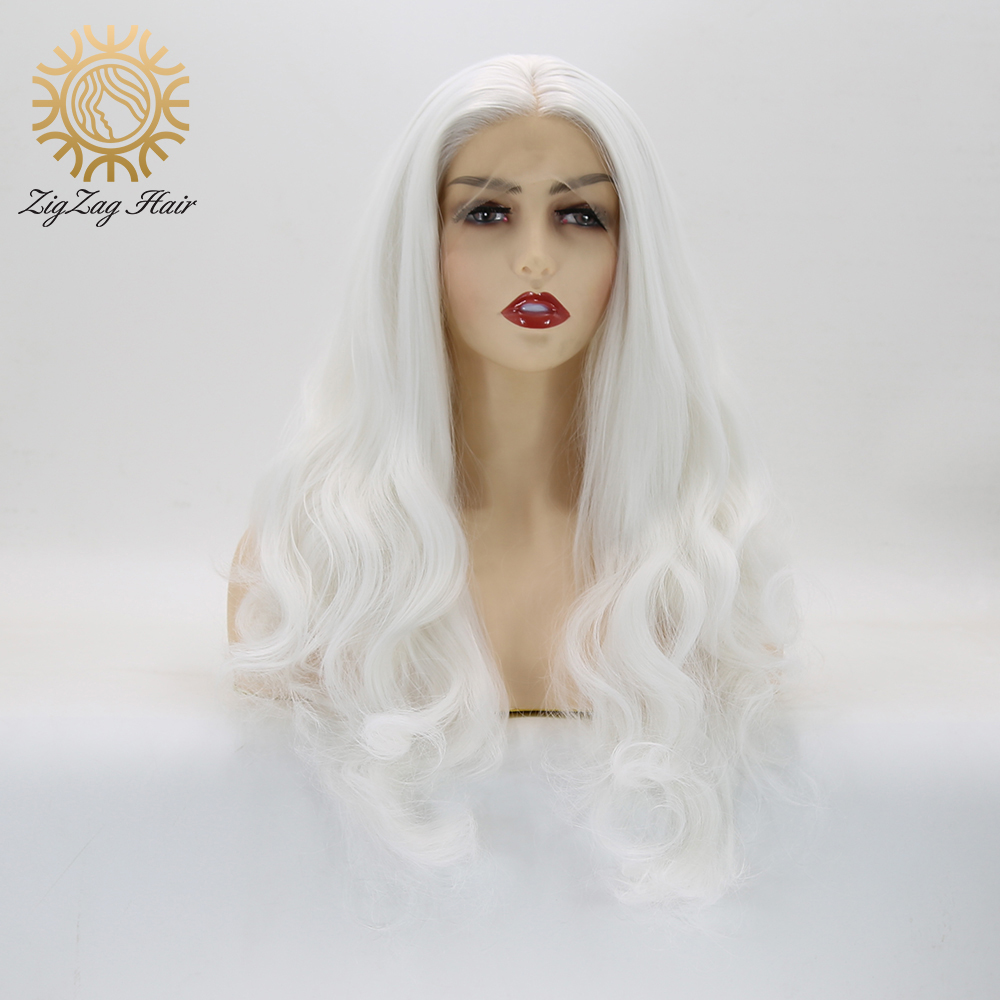 ZigZag Snow White Wavy Synthetic Lace Front Wigs For Women Heat Resistant Fiber Hair Long Body Wave Wig Middle Part Cosplay Wigs