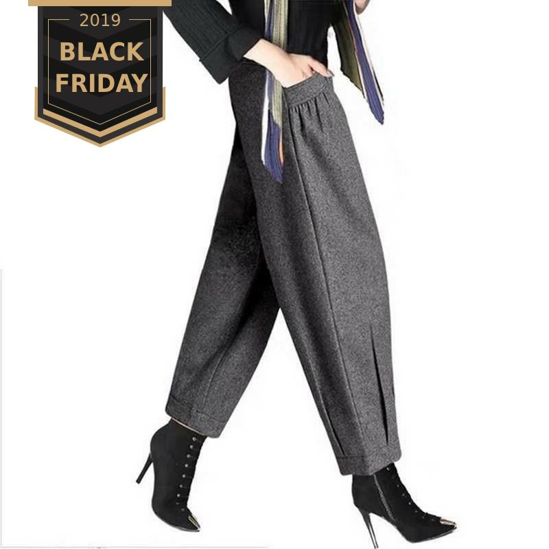 FALIZA Women Warm Loose Harem Pants Autumn Winter Woman High Waist Fashion Ladies Office Trousers Wide Leg Pants For Women WPM12