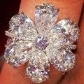 Женское кольцо с цирконием, элегантный белый цветок со стразами, роскошные ювелирные изделия, вечерние Обручальные кольца, подарок