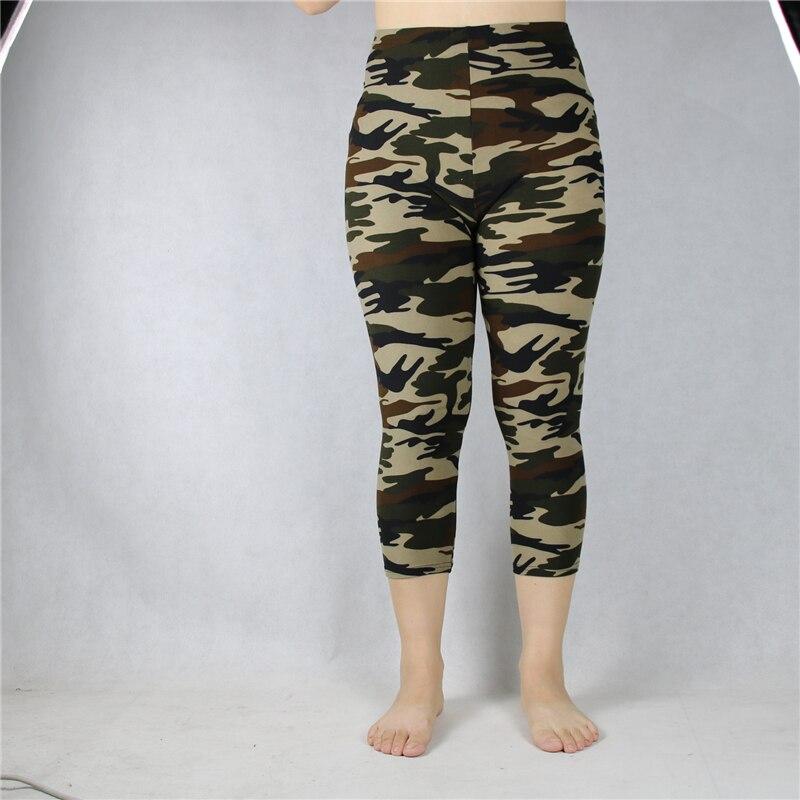 Babbytoro Leggings Women Midcalf Summer Military Camo Print 3/4 Crop Short Legging Pant Plus Size 7xl 6xl 5xl Xs Grey Green