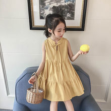 Girls' summer dresses 2020 foreign children's sleeveless vest  dress off-the-shoulder princess  dress children's dress printing off the shoulder flounce dress