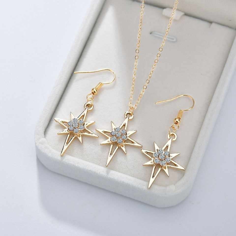 YANGQI 3PCS Women Trendy Earrings&Necklace Sets Beautiful Star With Rhinestone Female Jewelry Women Wedding Jewelry Gold Chain