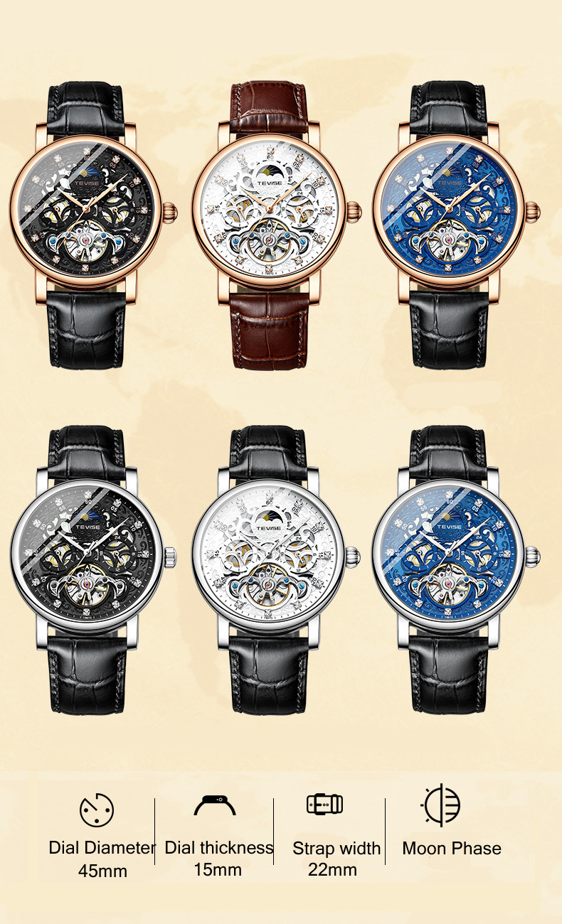 Reloj tevise tourbillon suíça relógios masculinos relógio
