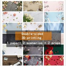 Background photography 2 Sides Marble Wood Grain photo studio Cosmetics Easter decoration 57*87cm Waterproof Photo background
