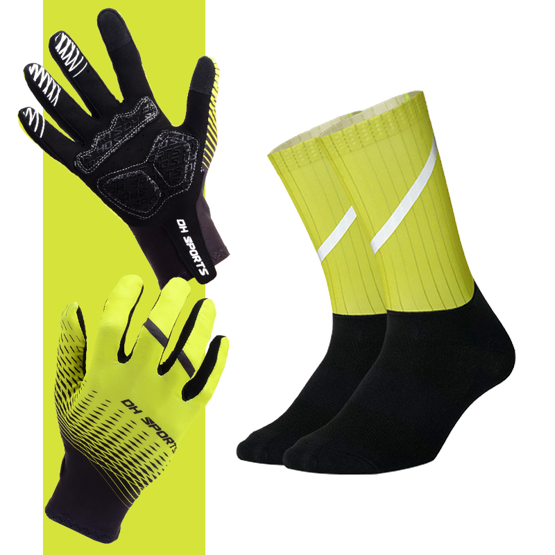 2020 neue Radfahren Handschuhe mit Silikon No-Slip Reflektierende Radfahren Socken Touch Screen Professional Anti-slip Bike Fahrrad handschuh image