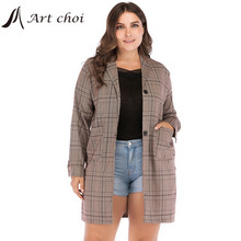 Jacket Plaid Elagant Talever Suit Coat Blazers Oversized Business Office Spring-Autumn-Work