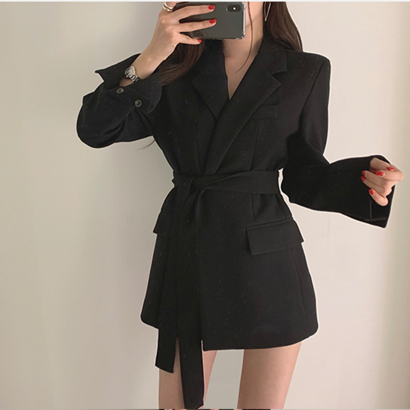 Casual Notched Sashes Blazer Autumn Women Jacket Coat Office Lady Suit Dress Female 2019 Elegant Apricot Slim Blazer Outerwear