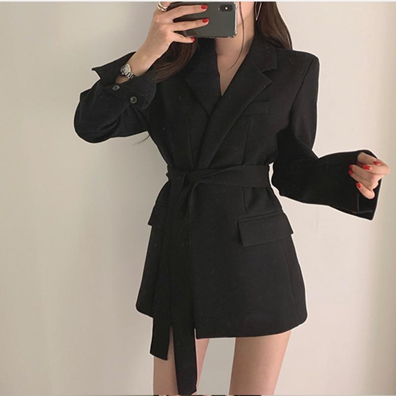 Casual Notched Sashes Blazer Autumn Women Jacket Coat Office Lady Suit Dress Female 2019 Elegant Apricot Slim Blazer Outerwear