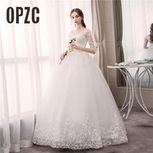 Ucuz moda müslüman düğün elbisesi yarım kollu Vestidos de novia 2020 sevgiliye dantel Backless aplike abiye Robe De Mariage
